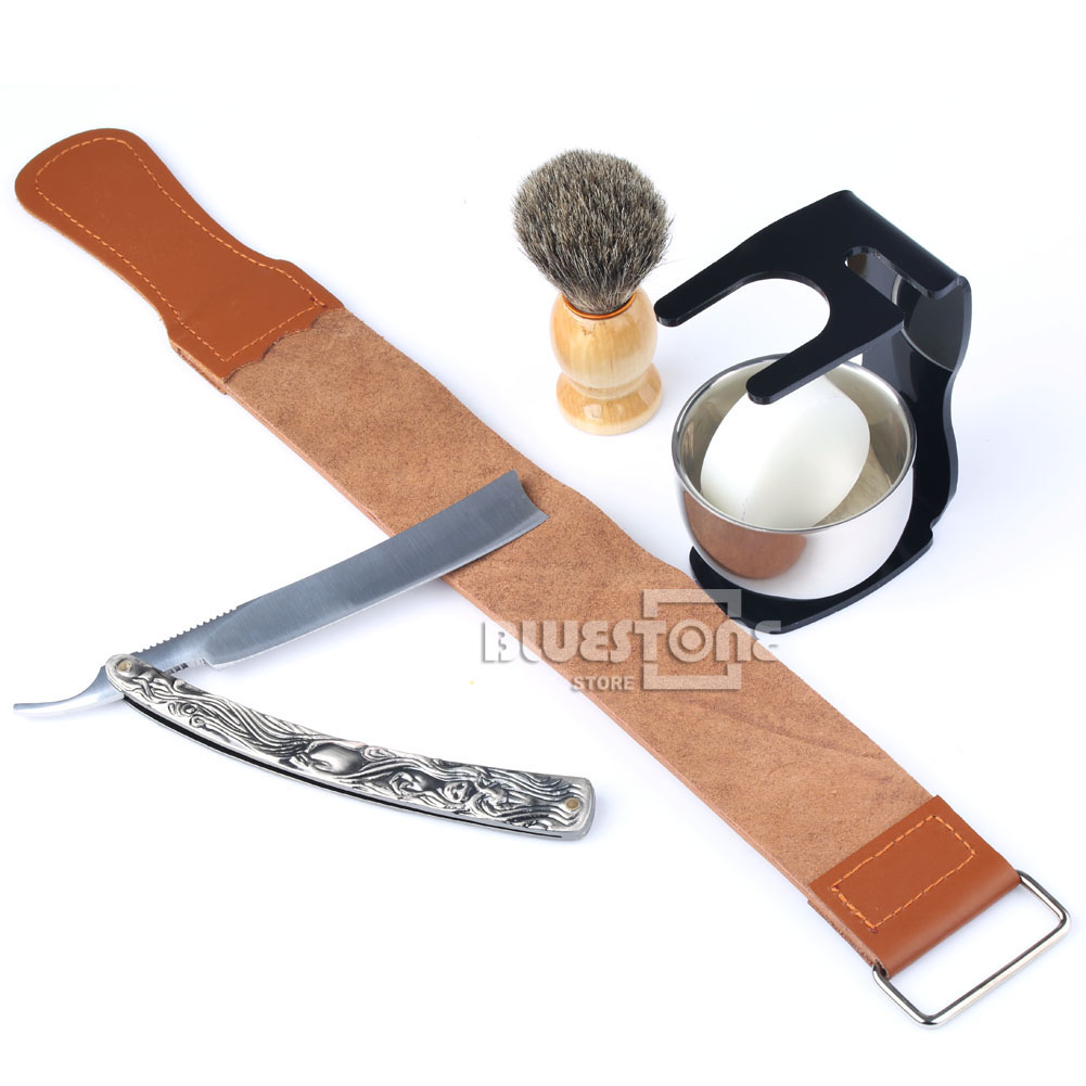 6 v 1 Pánská holičská holící sada Holicí nůž Straight Razor + kožený řemínek + štětec + černý stojan + mísa + mýdlo Doprava zdarma