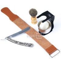 New 6 In 1 Men S Barber Shaving Set Straight Razor Leather Strap Brush Black Stand