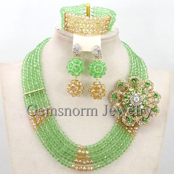 Pretty Lime Green Costume African Jewelry Set Nigerian Party Beads Necklace Set Green Beaded Jewelry Free Shipping WB673