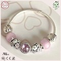 Romantic 925 Sterling Silver Bowknot Clasp Charm Snake Bracelet With Pink Love Flower Heart Real Silver Charms Series For Girls