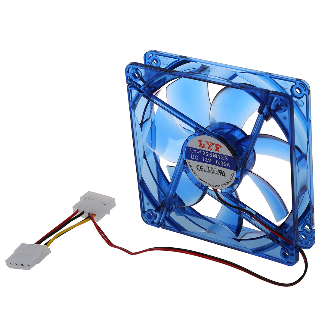 DC <font><b>12V</b></font> 4-Pin 4 Blue LED PC Computer Enclosure <font><b>Fan</b></font> <font><b>120</b></font> x 25 <font><b>mm</b></font> image