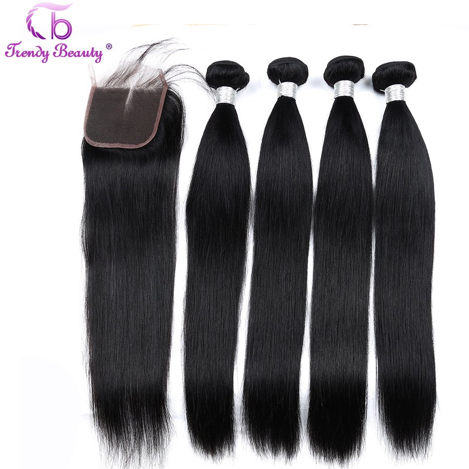 Brazilian straight hair 4 bundles with closure Middle Three Free 4X4 inches Lace with baby hai