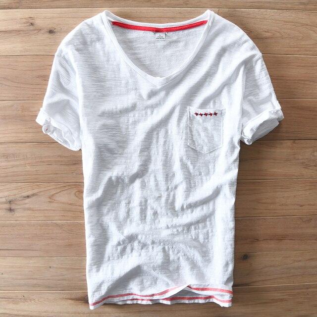 3ccfd068d Mody osobowości Serek Czerwone paski koszulki Lato T koszula mężczyzna  Zwierają Rękaw Bawełna Mężczyźni Marka T