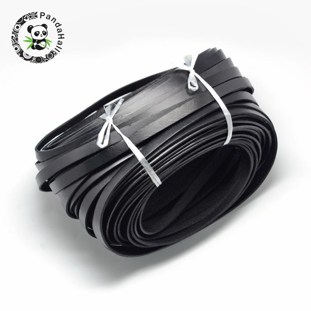 купить Leather Cords, Black, 10x2mm; about 50yards/bundle