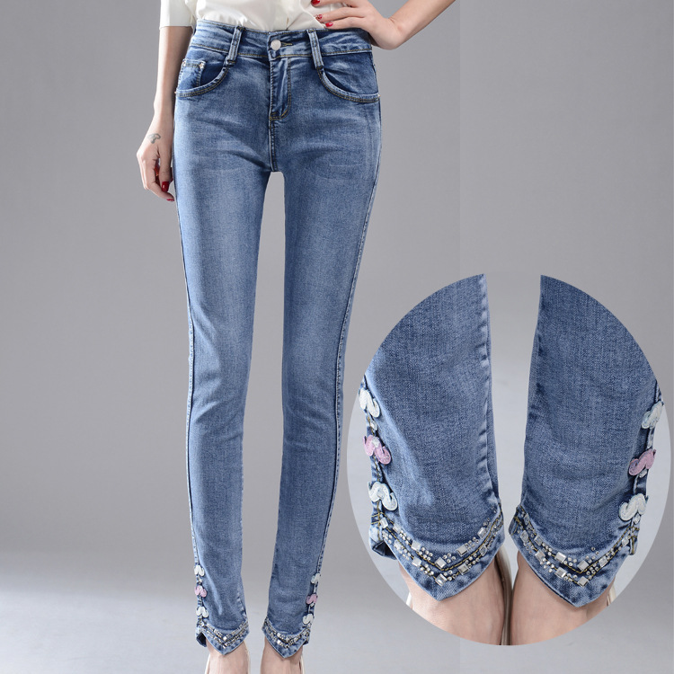 In the spring of 2016 new drilling embroidery Jeans Girl pencil pants slim slim stretch jeans
