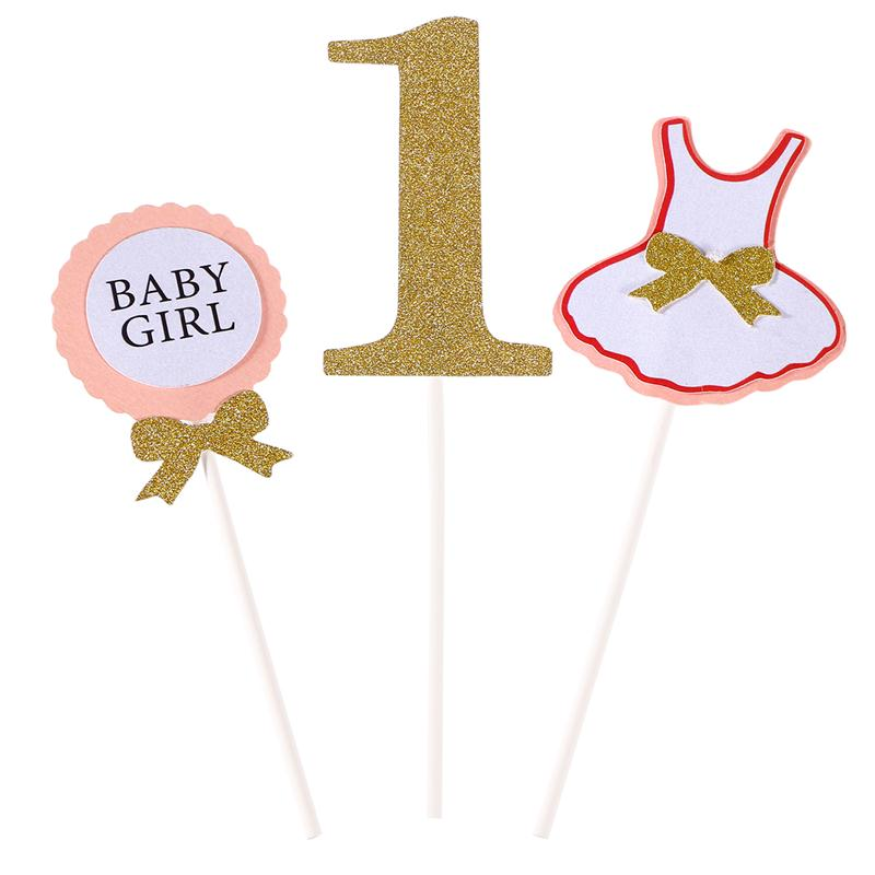 3 Pcs Cake Topper Flag Baby Boy Girl 1 Year Old Age Happy Birthday Cake Topper For Cake Party Decoration
