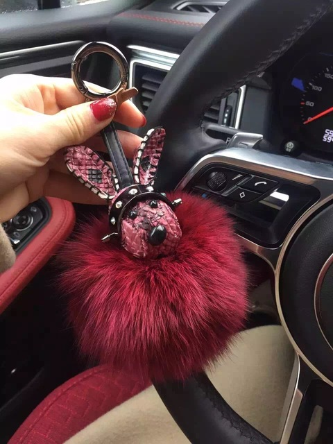 luxury large fox puffs pompoms keychains with real leather bunny heads unique keychains women fashion accessories cute bag charm