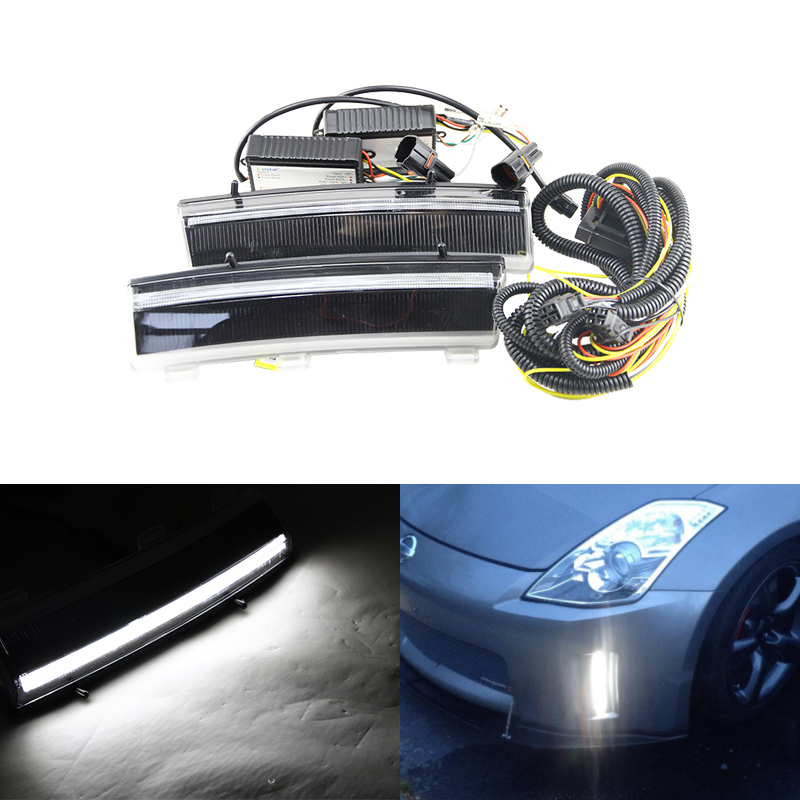 Switchback Led Front Bumper Reflector Led Daytime Running Light For Nissan LCI 350Z 06-09 Car-Styling Auto Car Driving Fog Lamps