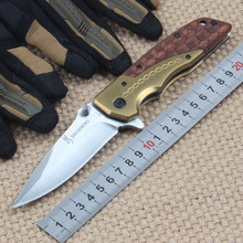 LOKI Browning DA77 Folding Utility Knife Steel+Redwood Handle Hunting Survival Tactical Knife Outdoor Camping Knife EDC Tools