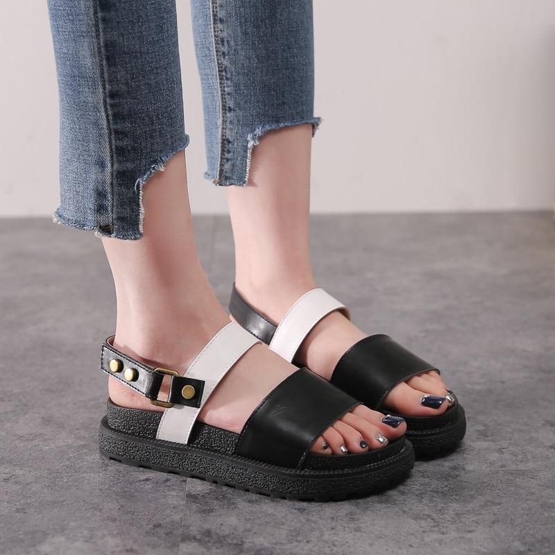 c4117aaaed53d4 De La Chance 2018 Fashion Flat Platform Sandals Gladiator Summer Casual Shoes  Woman Plus Size 42 43 Women Sandals Ladies Shoes