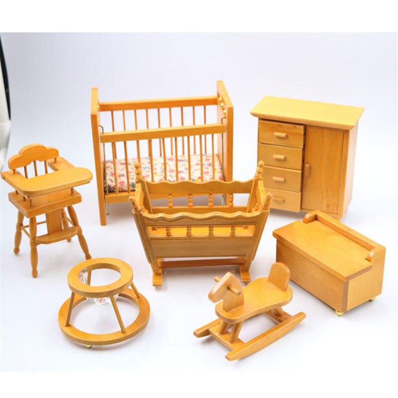 Doub K 1:12 dollhouse miniature en bois Lit chaise poupées mini meubles jouet jouer à faire semblant enfants jouets filles enfants cadeaux