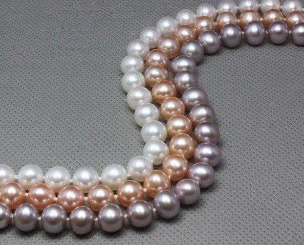 Collier de perles d'eau douce de grande taille 9-10mm, meilleure norme AAA