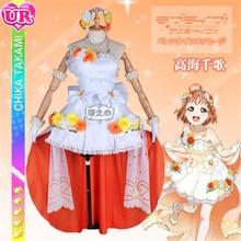 Anime  Aqours Lovelive Sunshine Takami Chika Wedding  Awaking  Dress Cosplay Costume  Formal Dress For Women  H цена