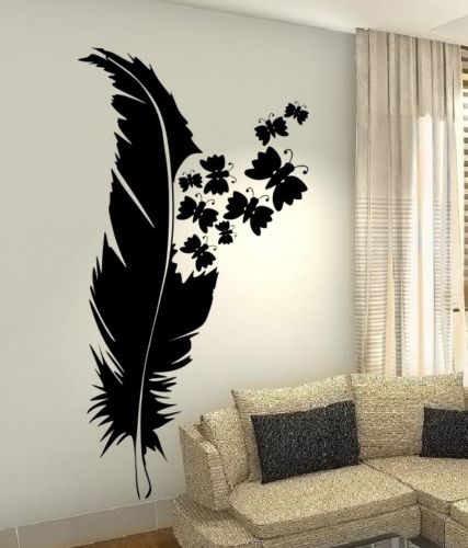 Beauty Feather Plume Wall Art Custom Vinyl Decals Stickers Decor Butterfly  48X132CM(China (Mainland