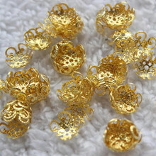 100 unids 10* 10mm silver receptacle Hollow Flower DIY spaced jewelry accessories Charms Receptacle Ball Caps For Jewelry Making