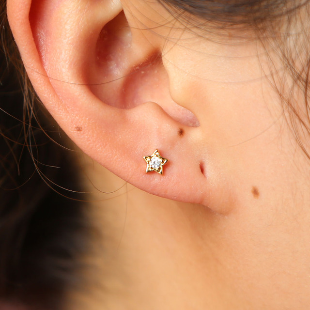 Mini Small The Second Stud Piercing Earring Cute Lovely Star Shaped Gold Color Top Quality
