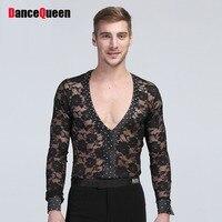 2018 Concurrentie Tops Latin Dance Top Sexy Mannelijke Shirts Jurk Voor Flamenco Sexy Ballroom Jurken Vestido De Danza Rumba Samba