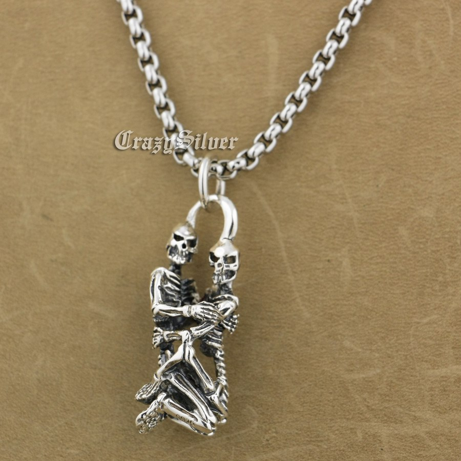 925 Sterling Silver Forever Love Sex Skull Biker Pendant 9S019A 316L Stainless Steel Necklace 24 inches