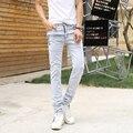 "Fashion Men Straight Jeans Elastic Skinny Causal Denim Trousers Mid Waist Men's Jean Light Blue Homme Casual Pants ""28-34''"