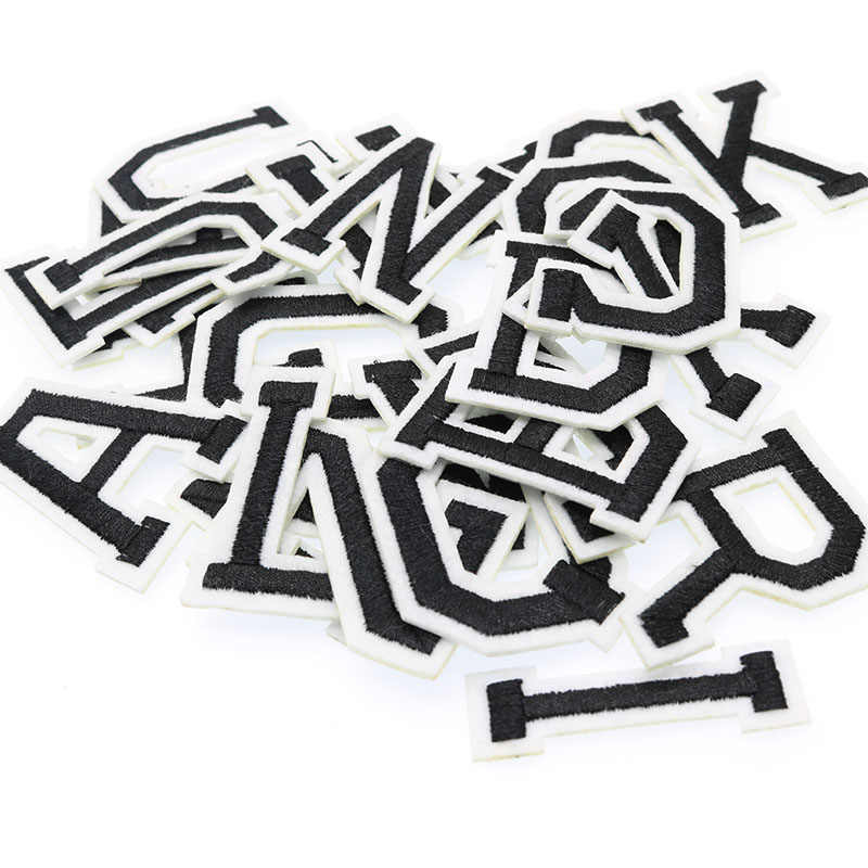 1pc English Letter Back Tape Embroidery Ironing Patch Patch Embroidery Clothing Stickers Pure White English Letters Embroidery