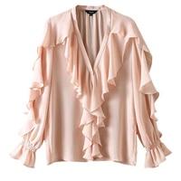 Women Stylish Chiffon Blouse Ruffled Transparent V Neck Long Sleeve Female Summer Sweet Wear Top Blusas Dropship S M L