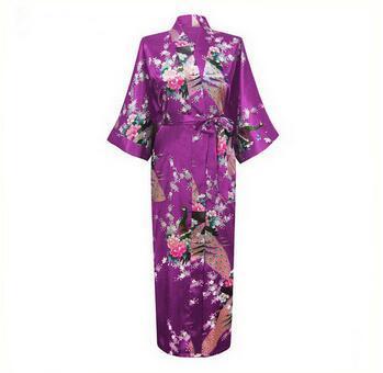 2015 Silk Bathrobe Women Satin Kimono Robes For Women Floral Robes Bridesmaids Long Kimono Robe Bride Silk Robe Dressing Gown 1