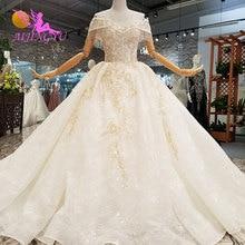 AIJINGYU 이슬람 신부 드레스 2 조각 가운 저렴 한 신부 플러스 크기 가운 웨딩 드레스 아이디어