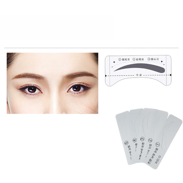 5 Styles Template Eyebrow Stencil Drawing Card Brow Make-Up Grooming Stencil Card 2U0608 1