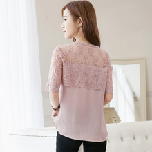 2018 Summer Chiffon Blouse Women Lace Shirt Sexy Half Sleeve Womens Tops Casual Elegant Female Blouses feminina Blusa 676F 30