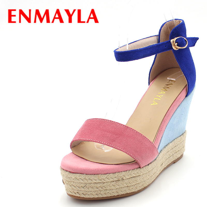ENMAYLA Women High Heels Platform Sandals Summer Shoes Woman Elegant Wedges Sandals T-Strap Flock Mixed Colors Ladies Shoes  enmayla flowers wedges heels platform sandals women open toe high heels shoes woman solid color ladies sandals female shoes