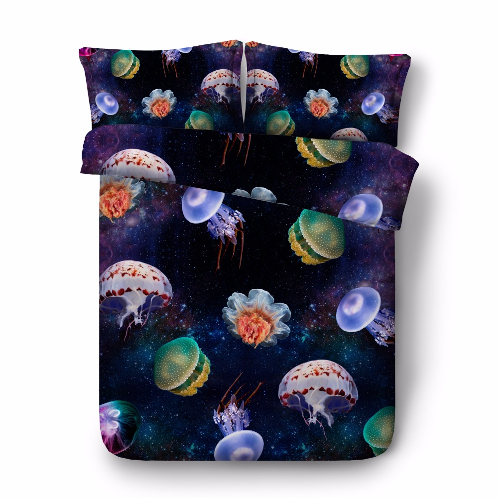 Free shipping 3d jellyfish starry sky outer space 1 duvet cover&2 pillow cases twin/full/queen/king/super king size bedding set