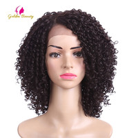 Golden Beauty 14inch Kinky Curly Synthetic Lace Front Wig Short Hair Afro V Cut Hairstyles for Black African American Wigs