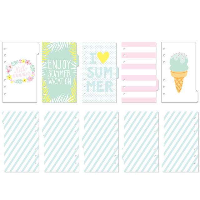Dokibook Hello Summer Cute Divider Day Planner Filler Papers