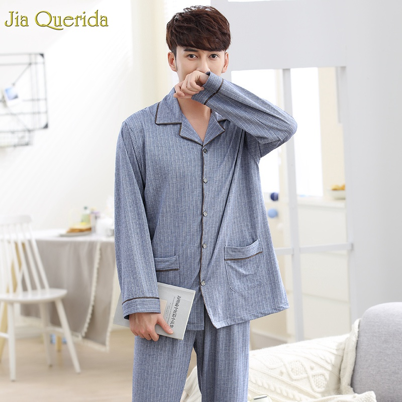 Pajama-Sets Home-Clothing Long-Sleeves Cotton Spring Autumn Striped Lapel Men High-Quality