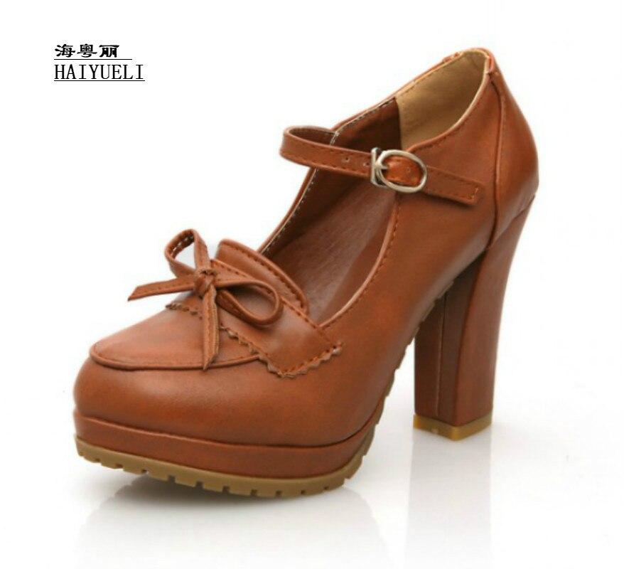 Women Sweet Bowtie Platform Pumps 11 Cm High Heels Lolita Shoes Japanese Uniform Shoes Cosplay Shoes Black Brown Beige