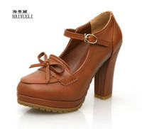 Women Sweet Bowtie Platform Pumps 11 Cm High Heels Lolita Shoes Japanese Uniform Shoes Cosplay Shoes Black Brown Beige