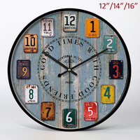 Antique Style Light Blue Wood and Arabic Numerals Face with Black Iron Framed Home Decor 14 inches Round MDF Wall Clock