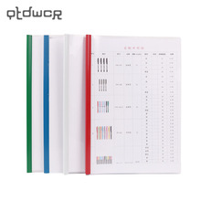 1PC Fashion A4 PVC Office Pull The Pole Clip Document Folder Transparent Plastic Thicken File Folder Office Stationery Supply