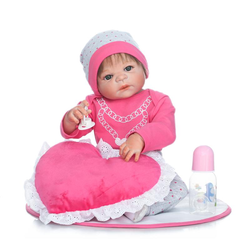 Real Lifelike Reborn Baby Doll 23 Inch Full Silicone Vinyl Newborn Babies Brinquedo do Bebe Kids Birthday Christmas Gift can sit and lie 22 inch reborn baby doll realistic lifelike silicone newborn babies with pink dress kids birthday christmas gift