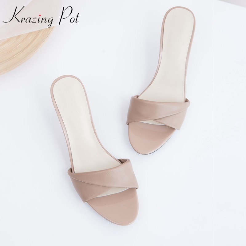 Krazing pot sheep skin full grain leather peep toe fashion women thin high heel sandals dress concise apricot summer mules L00 krazing pot shoes women full grain leather mules hollywood peep toe metal chain decorations sandals summer outside slippers l88