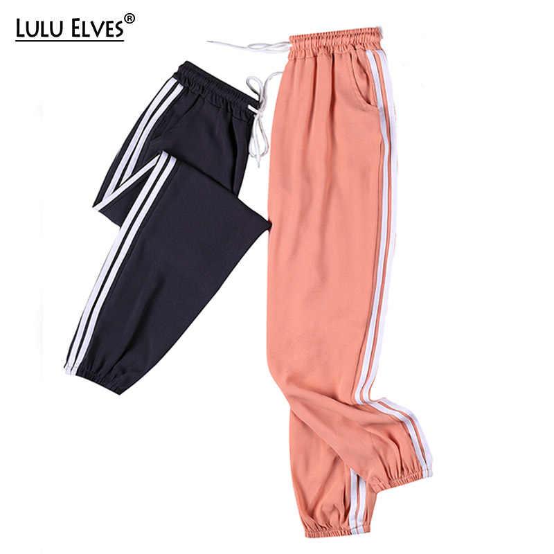 Большие размеры 4XL летние женские брюки до щиколотки шифоновые спортивные