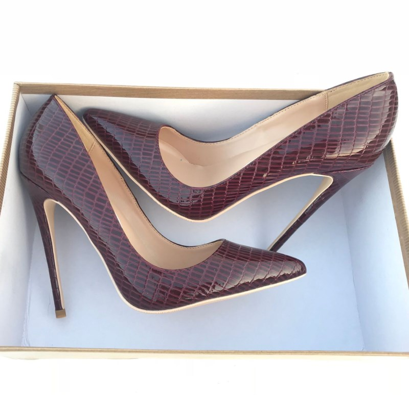 New European and American Sexy Wine-red Lizard-print <font><b>High</b></font>-<font><b>heeled</b></font> Shoes with <font><b>12</b></font> <font><b>cm</b></font> Tip and 10 <font><b>cm</b></font> Shallow Mouth Single Shoes image