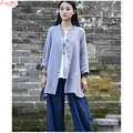 Women Art Original Casual Long Cardigans T-shirt Stand Collar Garden Wear Lazy Life Style Novelty Linen Tops Shirt