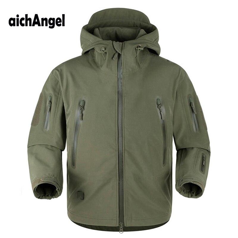 AichAngeI ulepszona V5.0 skóry rekina taktyczna kurtka wojskowa wodoodporna wiatrówka armia płaszcz mężczyźni Tactical kurtka z kapturem w Kurtki od Odzież męska na  Grupa 1