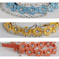 Женщины дамы мода тонкие узкие цветочный кристалл пряжки пояс плетеный пояс BLTLL0020