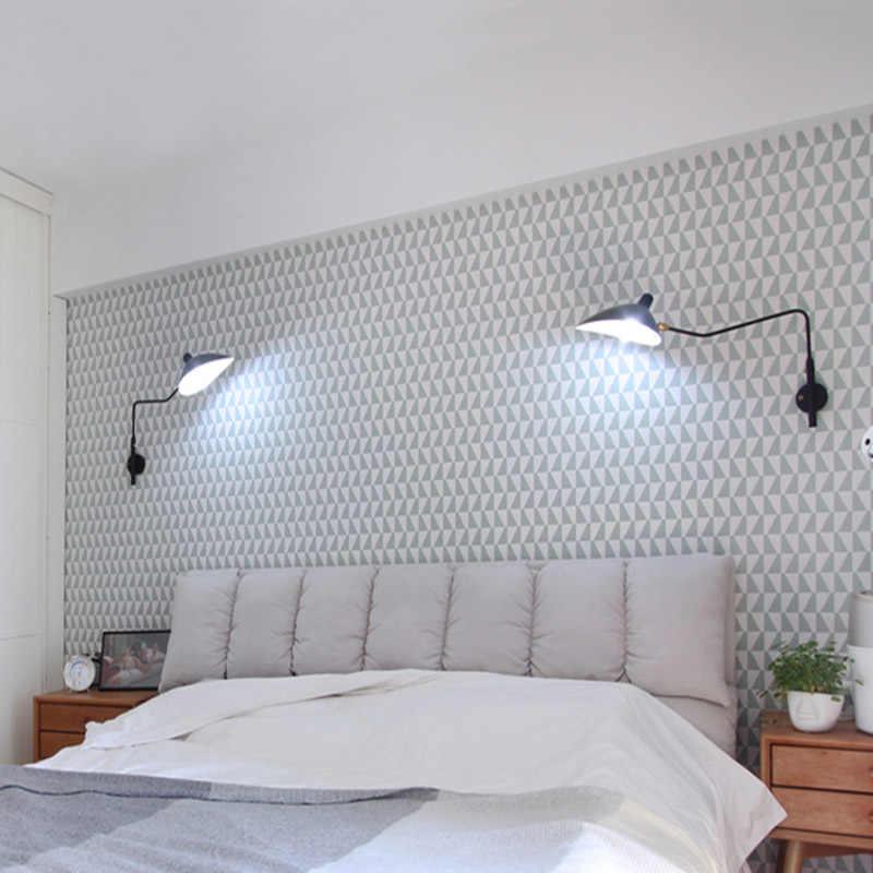 Черный, белый цвет ретро Лофт Промышленные Винтаж Настенные светильники французский дизайнер вращающийся бра, настенные светильники для украшения дома