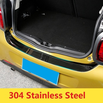 Stainless Steel Car Rearguard Bumper Cover Trunk Trim Outer Protection Plate for Smart forfour 2015 2016 2017 Brushed Black