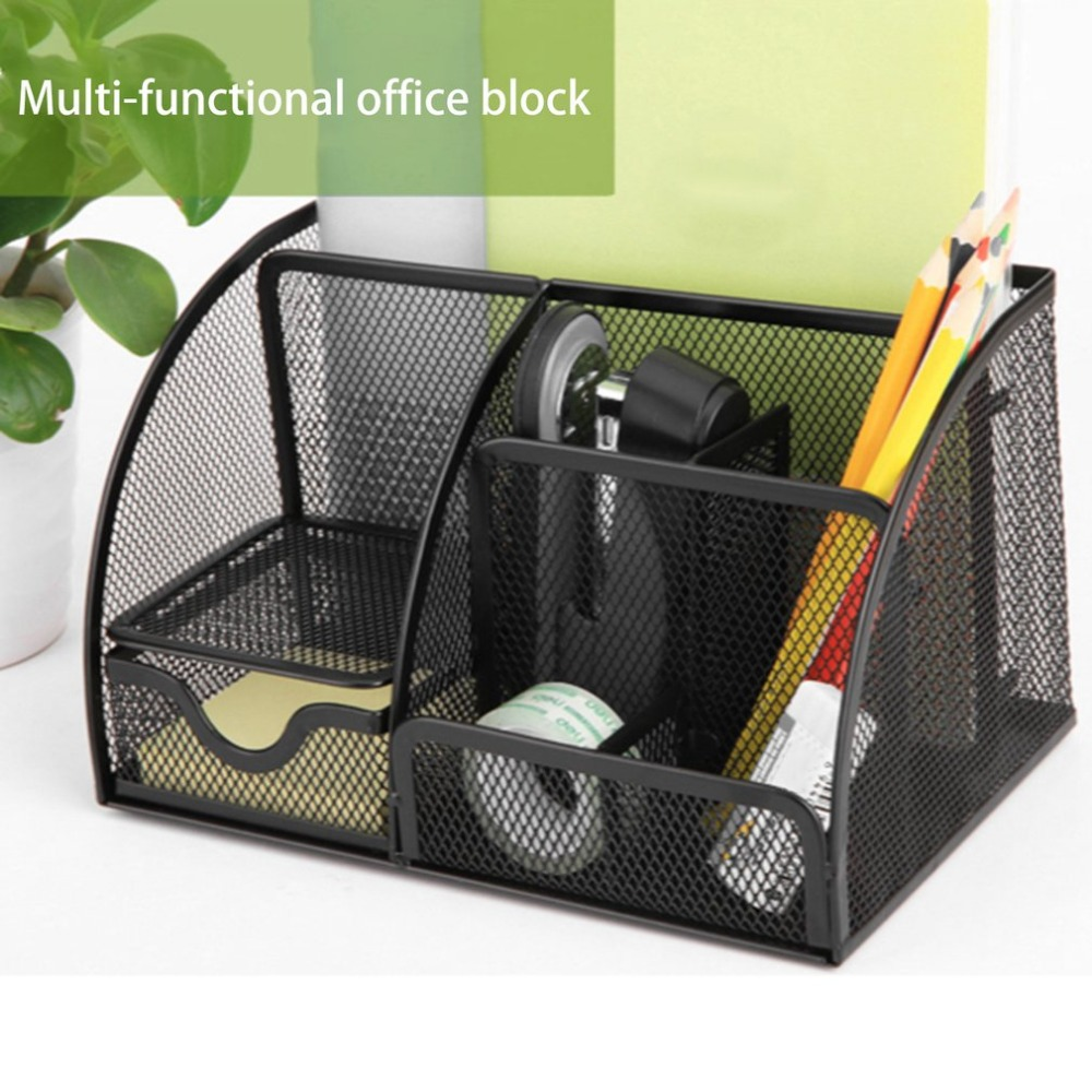 Deli Office Pen Container Small Objects Storage Box Multifunctional Desk Organizer Portable Pen Holder Office School Supplies