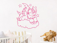 Baby Room Decals Cute sleeping Unicorn Moon Clouds Stars Wall Sticker Vinyl Art Removable Poster Mural Decor W345