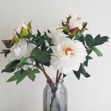 1 комплект домашние тапочки с изображением Головы Шелковый пионы, искусственные цветы букет из цветов с бутоном Топ искусственные цветы для дома Свадебные украшения в помещении